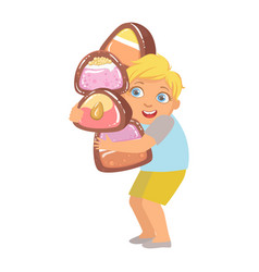 little boy carrying big heavy candies a colorful vector image vector image