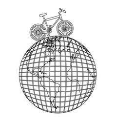 monochrome contour of bicycle over the world map vector image