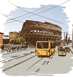 Rome cityscape drawing vector image vector image
