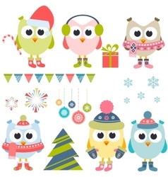 Set of christmas owls in winter vector image vector image