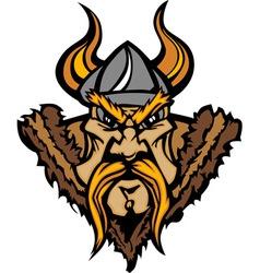 Viking Cartoon with Horned Helmet vector image vector image