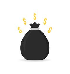 black money bag icon with shadow vector image vector image