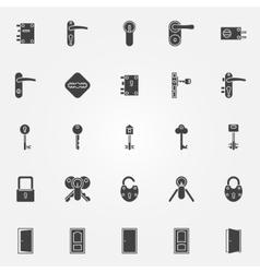 Door lock icons set vector image