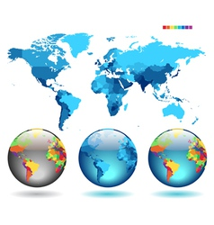 Globes on blue detailed map vector image vector image