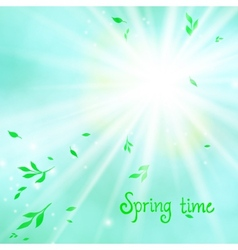 Spring card background with sun and leaves vector image