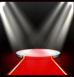 stage empty round podium illuminated by vector image