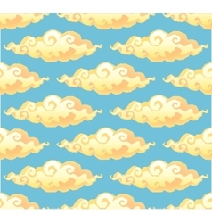 Yellow curly cartoon style clouds on blue vector image vector image