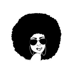 African american woman silhouette afro portrait vector