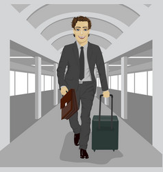 businessman with briefcase and suitcase at airport vector image