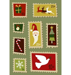 Christmas postage stamps set vector image vector image