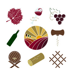 collection of colorful wine icons vector image