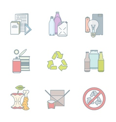 color outline various waste recycle separate vector image