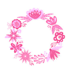 floral pink wreath vector image vector image