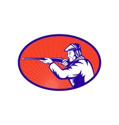 Hunter aiming a shotgun rifle side vector image