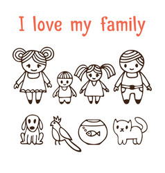 i love my family happy family with two children vector image vector image