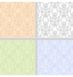 Summer floral seamless patter set vector image