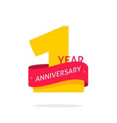 1 year anniversary logo 1st anniversary icon vector
