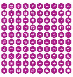 100 marine environment icons hexagon violet vector