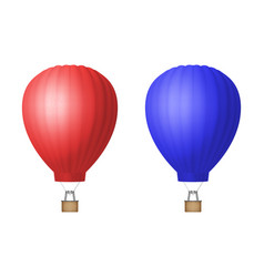 3d realistic red and blue hot air balloon vector image