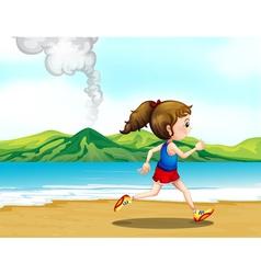 A girl jogging at the seashore vector image