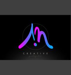 Am artistic brush letter logo handwritten vector