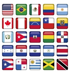 American Flags squared Icons vector