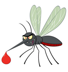 Angry mosquito cartoon character flying vector