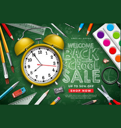 back to school sale design with alarm clock vector image