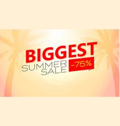 biggest summer sale poster tropical vector image