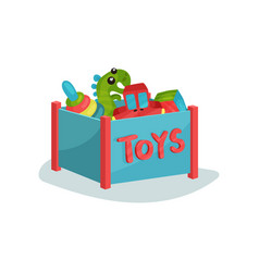 blue box full of toys for toddlers or preschool vector image