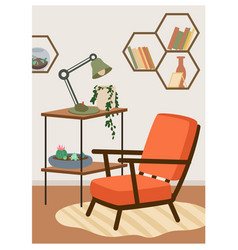 boho house with armchair ivy plant lamp vector image