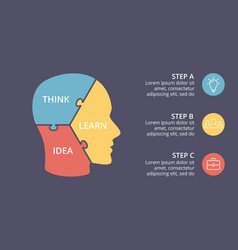 brain puzzle infographic template for vector image