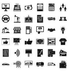 business company icons set simple style vector image