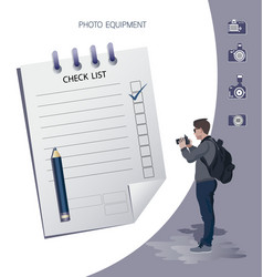 business man with a camera and checklist vector image
