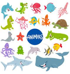 cartoon marine animal characters set vector image