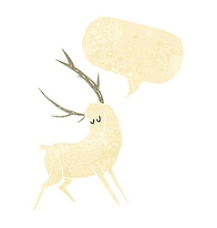cartoon white stag with speech bubble vector image