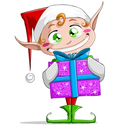 Christmas Elf Holding A Present vector