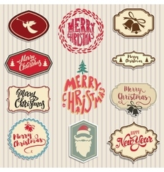 Christmas emblems set Santa Claus beard angel vector
