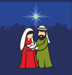 Christmas scene mary and joseph with the baby vector