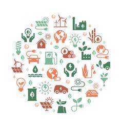 circular concept set green power symbol vector image