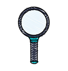 Color crayon stripe cartoon magnifying glass with vector