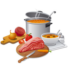 cooking hot soup vector image