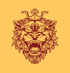 crowned lion design vector image