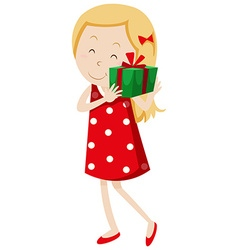 Cute girl with present box vector image