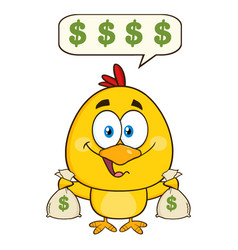 cute yellow chick cartoon character holding money vector image