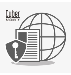 Cyber security system padlock global design vector