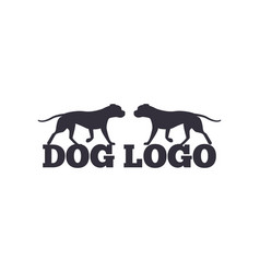 Dog logo design two canine animals silhouettes vector
