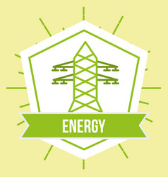 Electricity tower power ecology energy emblem vector