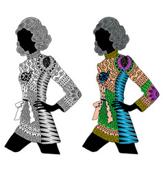 Entangle stylized color and black girl hand vector