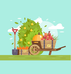 flat fruits and vegetables cart with apple box vector image